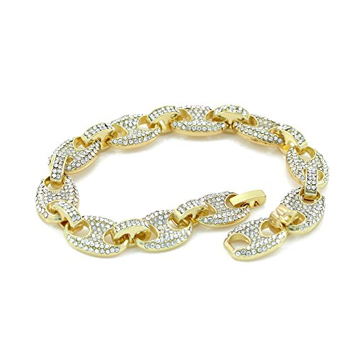 Mens Iced Out Mariner Link Necklace/Bracelet Gold Finish Lab Created Diamonds 12MM (8.5 - 30 inches) (Bracelet 8.5'')