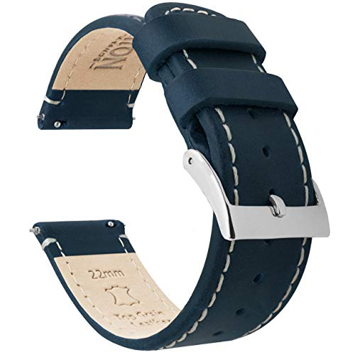 20mm Vintage Navy/Linen - Barton Quick Release - Top Grain Leather Watch Band Strap