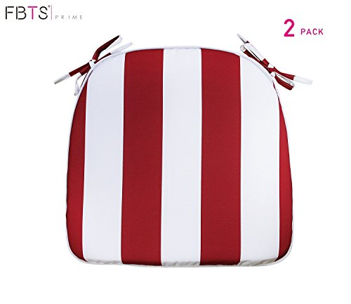 FBTS Prime Outdoor Chair Cushions (Set of 2) 16x17 Inches Patio Seat Cushions Red and White Stripe Square Chair Pads for Outdoor Patio Furniture Garden Home Office