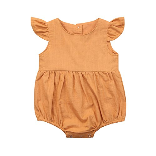 - Honganda Cute Summer Baby Girl Flutter Sleeve Romper Bodysuit Jumpsuit Bubble Playsuit (Yellow, 18-24 Months)