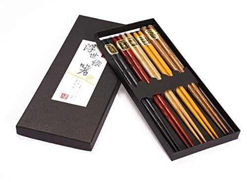 Wooden Reusable Chopsticks Set Include 5 pairs Multi Color Design Lightweight Chopstick and Asian Classic Style