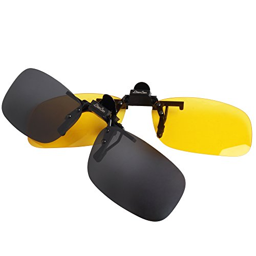 LianSan et Rectangle 005 Up de Soleil noir Soleil jaune Hommes Femmes Conduite 004 Clip de Lunettes Polarisée Flip Mirroir Lunettes Lentille petite taille Sur pqUrpRa