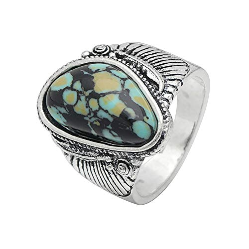 Joy Dragon Elegant Women 925 Sterling Silver Turquoise Feather Engagement Jewelry Ring (Green, 6)
