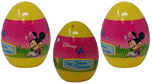 Prefilled Jumbo Easter Eggs With Tattoos, Minnie Mouse - Easter Basket Stuffers - 3 Pack