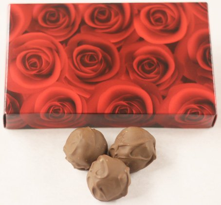 Scott's Cakes Milk Chocolate Covered Chocolate Marzipan Truffles in a 8 oz. Red Roses - Marzipan Cake Chocolate