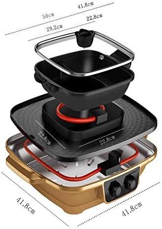 Feceyq Or sans huile antiadhésive, Zone de chauffage indépendante de la température de contrôle, dissociable Hot Pot, facile à nettoyer Barbecue multi-fonction Hot Pot
