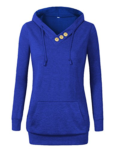 VOIANLIMO Women's Sweatshirts Long Sleeve Button V-Neck Pockets Pullover Hoodies Royal Blue 2XL