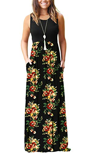 MISFAY Womens Summer Contrast Sleeveless Tank Top Floral Print Maxi Dress (XL, Green Red)