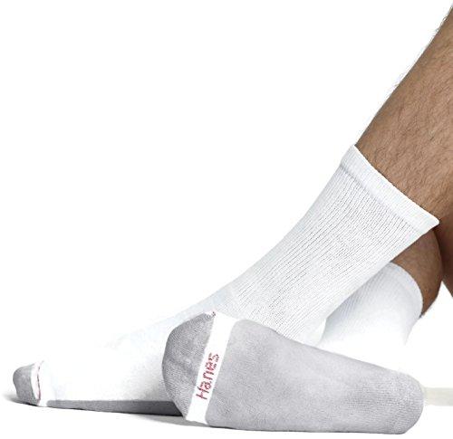 Hanes Ultimate Men's 10-Pack FreshIQ Cushion Crew Socks, White, Sock Size: 10-13/Shoe Size:9-11 from Hanes Ultimate