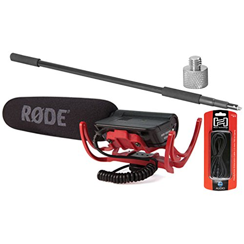 Rode VideoMic Shotgun Condenser Microphone w/ Boom Pole, 10' Extension Cable, and Adaptor (Rode Microphone Boom Pole)
