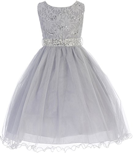 Big Girl Glitters Sequined Bodice Double Layer Tulle Rhinestones Sash Flower Girl Dress Silver 16 JK3670
