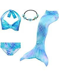 3635b3f6f3 3pcs Swimmable Mermaid Tail Kids Girls Princess Bikini Set Swimsuit Swimwear