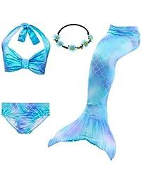 3431cb7840 3pcs Swimmable Mermaid Tail Kids Girls Princess Bikini Set Swimsuit Swimwear