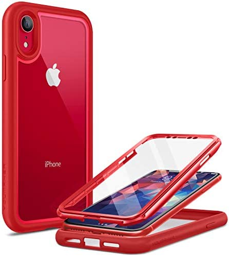 YOUMAKER Aegis Series for iPhone XR Case, Full-Body with Built-in Screen Protector Rugged Clear Cover for iPhone XR 6.1 Inch-Red