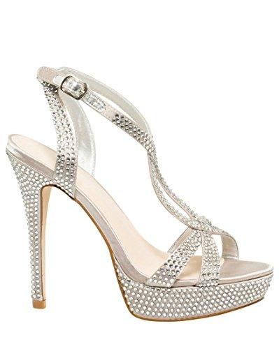 LE CHÂTEAU Women's High Heel Jeweled Satin Platform - Jeweled Heel High