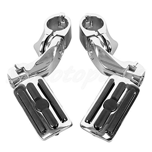 """TCMT Chrome 1.25"""" 3.2cm Adjustable Highway Foot Pegs Footpeg Footrest Bracket Set Fits For Harley all models with 1-1/4"""" Engine Guards (Harley Touring Softail Dyna Sportster and so on)"""