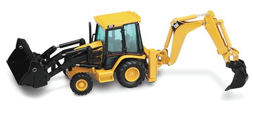Caterpillar 432D Side-Shift Backhoe Loader with Work Tools Features front - 1/50 Scale