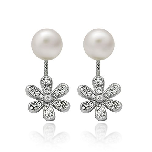 925 Sterling Silver Earrings, Swing Ear Jacket Pearl Earrings, Pearl Ball Earrings Classic Simulated Shell Pearl Earrings 7mm White Round Pearl Earrings