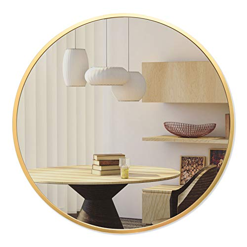 BEAUTYPEAK Circle Mirror Gold 24 Inch Wall Mounted Round Mirror with Brushed Metal Frame for Bathroom, Vanity, Living…