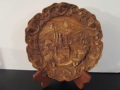 Berchtesgaden Vintage Hand-Carved Wooden Plate Entitled