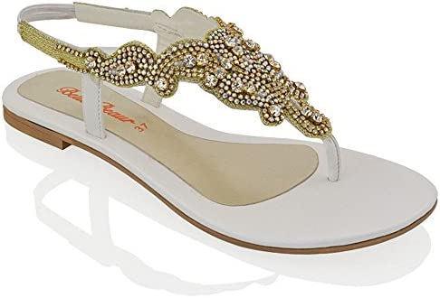 56971d5ae93c3 ESSEX GLAM Womens Diamante Slingback Toe Post Flat Sandals (10 B(M ...