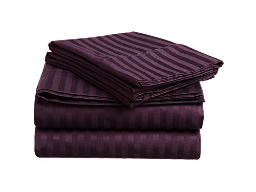 Super Deep Pocket Stripe Wine Queen Size 4-PCs Classic Finest Quality Bed Sheet Set 100% Egyptian Cotton 600 Thread Count fit up to 8 inch mattress by RK Linen
