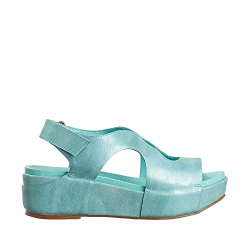 Antelope Womens 404 Metallic Leather Low Cutout Sandals Aqua 7kTDNg