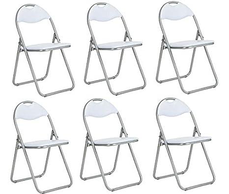 Conjunto de 6 silla de oficina plegable acolchado de piel ...