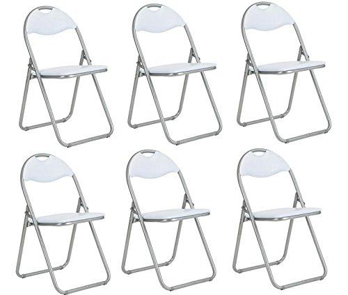 Homy Casa - Juego de 6 sillas de oficina plegables de piel sintetica acolchadas y plegables para comedor, color blanco