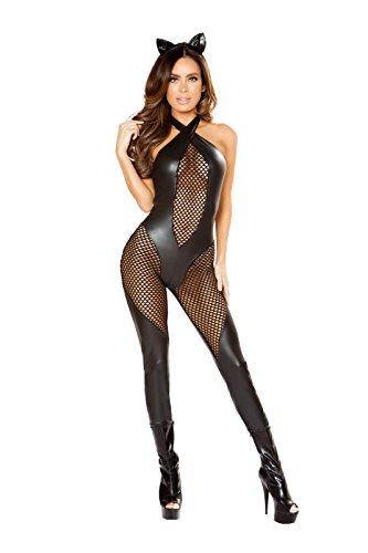 Fest Threads 3 PC Cat Feline Kitty Black Fishnet Jump Suit w/Accessories Party Costume -