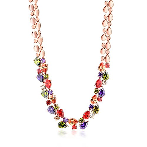 Gem Stone King Rose Tone Multi-Color Cubic Zirconia CZ Necklace with Fold Over Clasp 18 Inch