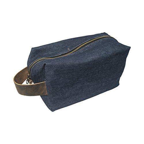Travel Square Dopp Kit for Toiletries Handmade by Hide & Drink :: Repurposed Denim (Travel Cheetah Luggage)