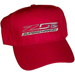 ZO6 Corvette Supercharged Red Logo Hat Cap Chevrolet Made in USA and Racing Decal