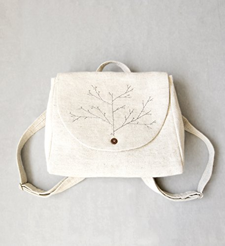 Embroidered backpack linen bag canvas women's backpack linen backpack hand embroidery white linen bag wedding linen bag rustic bag boho chic by Kinzzza