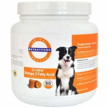 Stratford Pharmaceuticals EZ Chew Omega 3 Fatty Acid Soft Chew Max Strength – Dog Omega 3 Supplement – Soft Chew Treats with Fish Oil for Dogs – Large and Giant Dogs – 90 Soft Chews