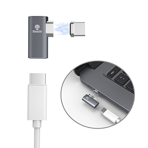 Magnetic USB C Adapter for Macbook pro, Stouchi MagSafe Magnetic USB C to USB C Connection Support 4.3 A Fast Charging for Macbook Pro, Samsung Galaxy S8 Or Other USB C Device (Gray)