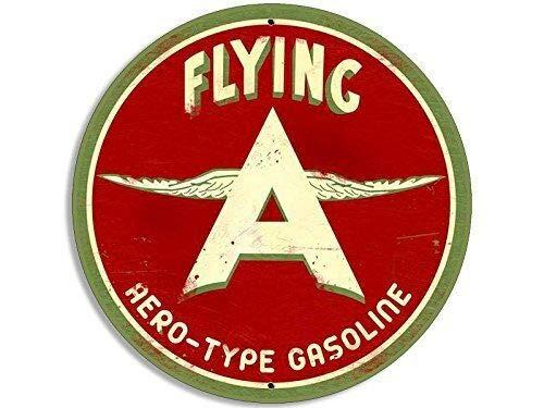 MAGNET 4x4 inch Round Vintage Flying A Gas Logo Sticker (rat rod car old emblem) Magnetic vinyl bumper sticker sticks to any metal fridge, car, signs