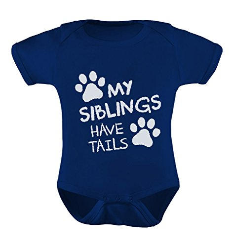 Tstars TeeStars - My Siblings Have Tails Funny One-Piece Infant Baby Bodysuit Newborn Navy