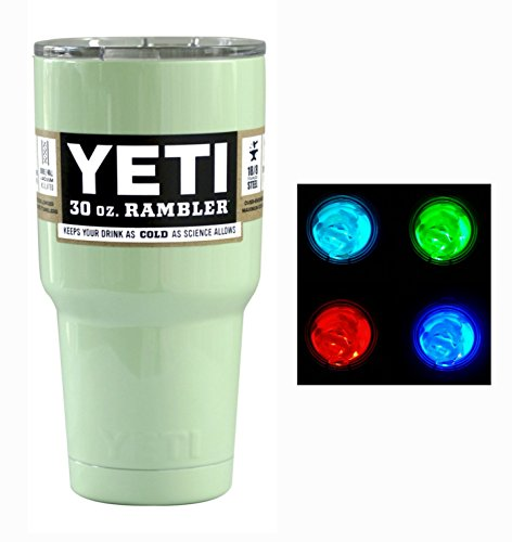 YETI Coolers Custom Powder Coated 30 Ounce (30 oz) (30oz) Rambler Tumbler with Lid Cup Mug and LED Multi-color Light (Mint Green)