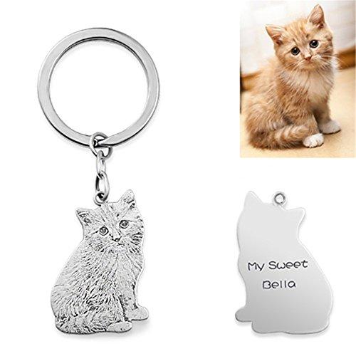 Cat Sterling Silver Key Ring - Handmade Dog Cat Photo Silhouette Keychain Custom Engraved Pet Key Ring for Women Men Best Memorial Gift - Titanium Steel