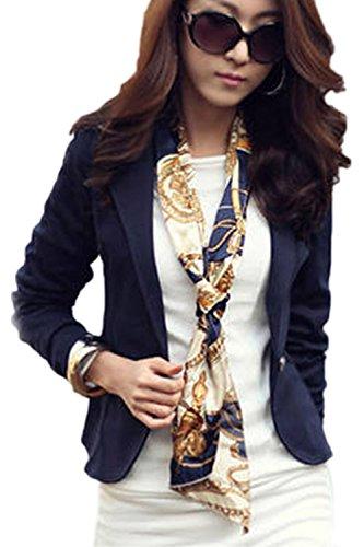La Slim Es Blue 1 Fit Botones Chaqueta Solapa Office Mujer Corta Elegante 7rwq075