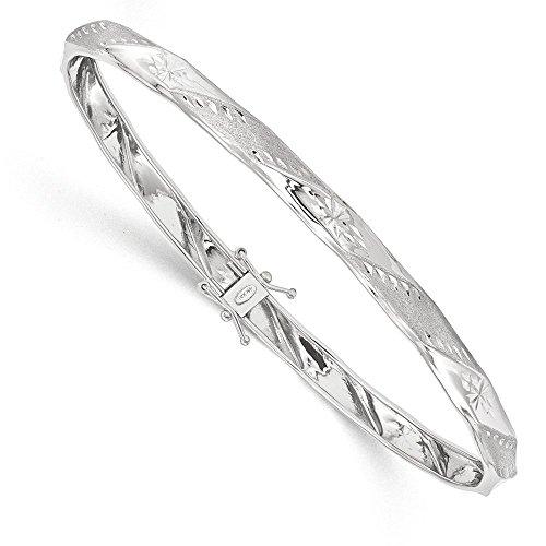 Bangle Gold 14k Cut Diamond (14K White Gold Polished Satin Diamond Cut Flexible Bangle)