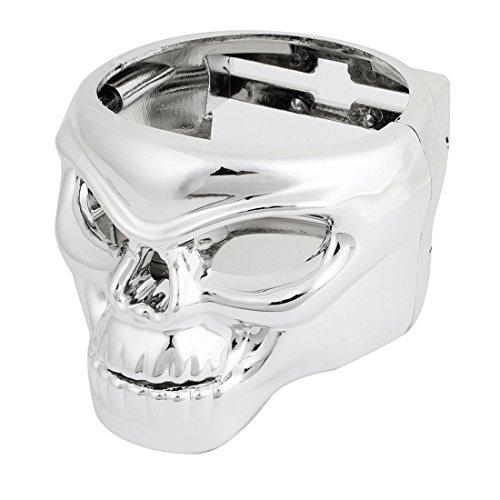 Car Silver Tone Plastic Skull Shape Drink Cup Can Bottle Holder