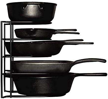 Geo Fashion™ Heavy Duty Pots and Pans Organizer - For Cast Iron Skillets, Pots, Frying Pans, Lids | 5-Tier Durable Steel Rack for Kitchen Counter & Cabinet Storage and Organization - No Assembly Required [Black]