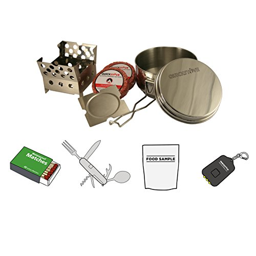 QuickStove Portable Emergency Camp Cook Kit. Multi-Fuel Stove, Stainless Steel Pot, Fuel, and Food – Perfect for Survival Kits, Camping Emergency Preparedness