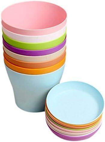 Macetas de plástico coloridas con forma de flor para interior o oficina, con paletas/bandejas, de Kinglake, plástico, multicolor, 8 Pcs 4