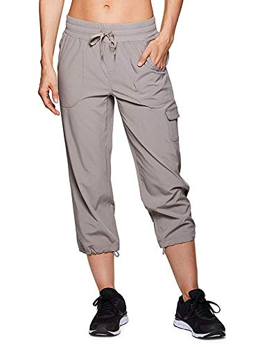 Women's Active Cargo Lightweight Woven Capri Pant #2033-Light Grey,32