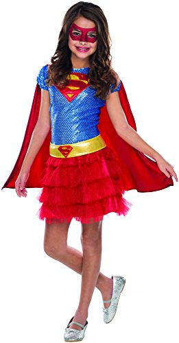 Costumes Red Superhero (Rubie's Costume DC Superheroes Supergirl Sequin Child Costume,)