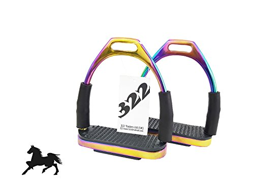 322 Trader RAINBOW SAFETY FLEXI STIRRUPS HORSE RIDING STAINLESS STEEL