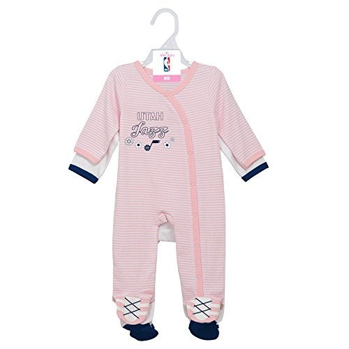 NBA Newborn 2nd Half 2 Piece Coverall Set Utah Jazz-Light Pink-0-3 (Utah Jazz Two Piece)